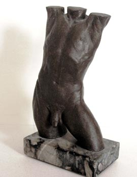 Male Torso: bronze on marble base